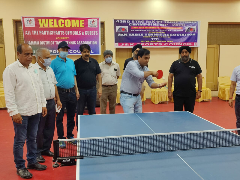 Chief guest, Zafar Iqbal inaugurating Table Tennis championship at MA Stadium Jammu.