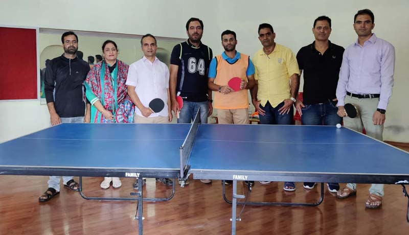 Participants and dignitaries during inaugural ceremony of Table Tennis tourney at Kashmir University Srinagar.