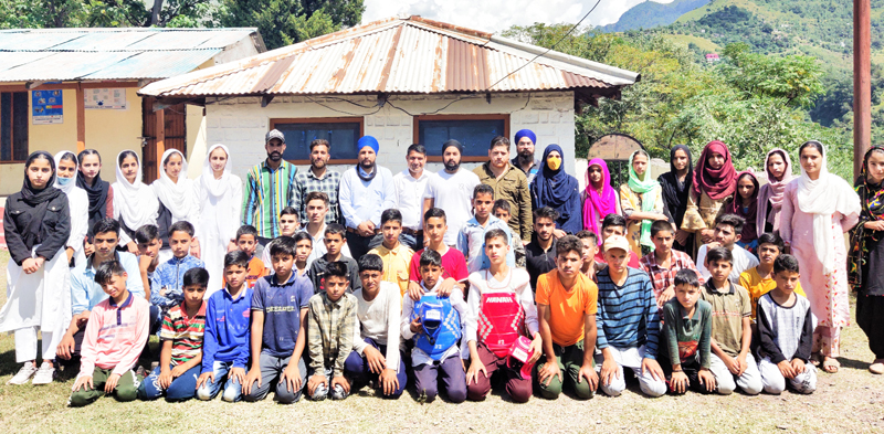 Winners of Taekwondo of Zone Sathra posing for a group photograph on Tuesday.