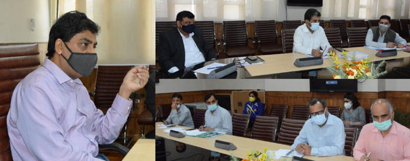 Chief Secretary Dr Arun Kumar Mehta chairing the meeting of Youth Services & Sports Department at Srinagar on Friday.