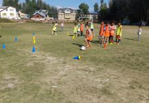 Players during Football coaching course at HSS Doabgah Sopore in Baramulla district. —Excelsior/Aabid Nabi