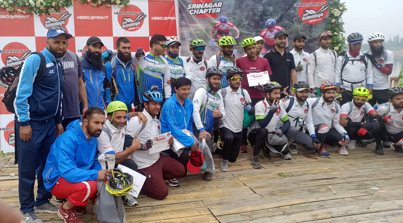 Participants of qualifying round of Hero MTB posing for a group photograph on Friday.