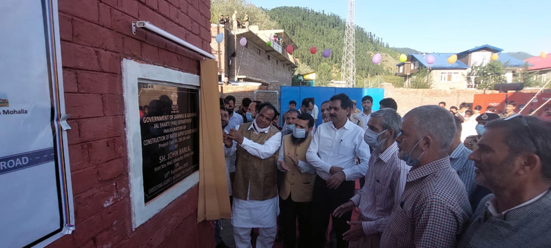 Union MoS for Minority Affairs John Barla inaugurating WSS at Halpal in Kupwara.