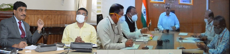Chief Secy, Arun Mehta and Secy MoRTH Giridhar Aramane reviewing Road Sector projects during meeting in Srinagar.