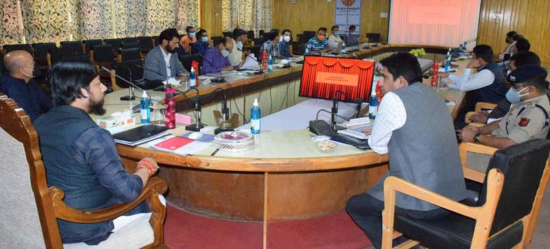 Union MoS for Youth Affairs and Sports, Nisith Pramanik chairing a meeting at Pulwama on Sunday.