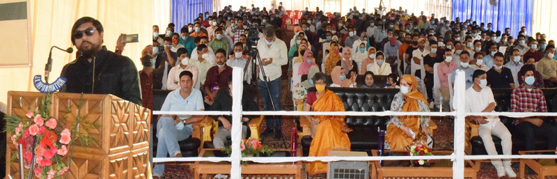 Union MoS for Home Affairs, Nishit Pramanik addressing Youth Conclave in Pulwama on Monday.