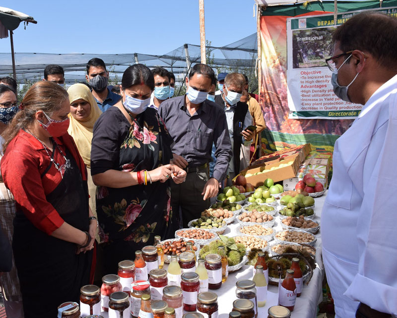 Union Minister for Child Development, Smriti Irani flanked by Secy SWD, Sheetal Nanda inspecting a stall at Budgam.