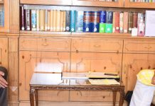 Lt Governor Manoj Sinha meeting VC Maulana Azad National Urdu University on Thursday.