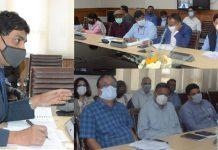 Chief Secretary, A K Mehta chairing a meeting in Srinagar on Monday.