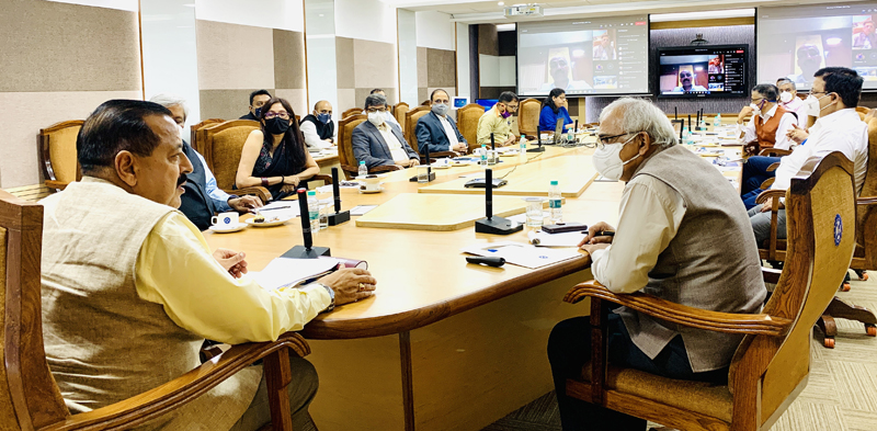 Union Minister Dr Jitendra Singh convening a meeting with representatives of prominent Industry Houses of India, at New Delhi on Monday.