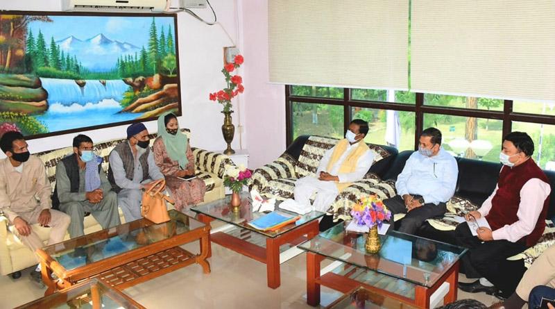 Union MoS for Jal Shakti Bishweswar Tudu interacting with PRI members at Kishtwar. -Excelsior/Tilak Raj