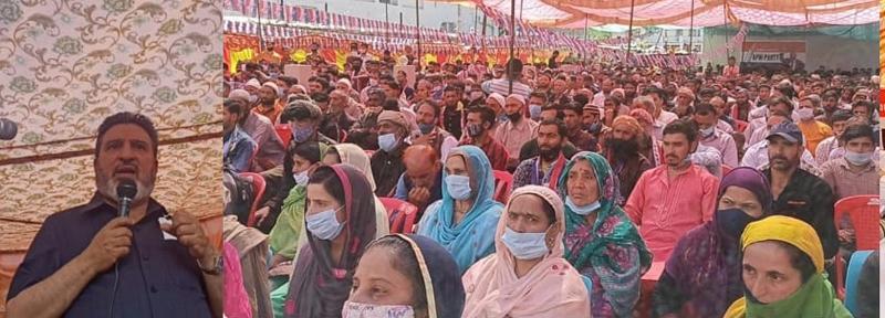 Apni Party president, Altaf Bukhari addressing large gathering at Kishtwar on Monday.