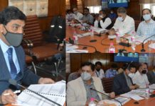 Chief Secretary, Arun Kumar Mehta chairing a meeting on employment at Srinagar on Wednesday.