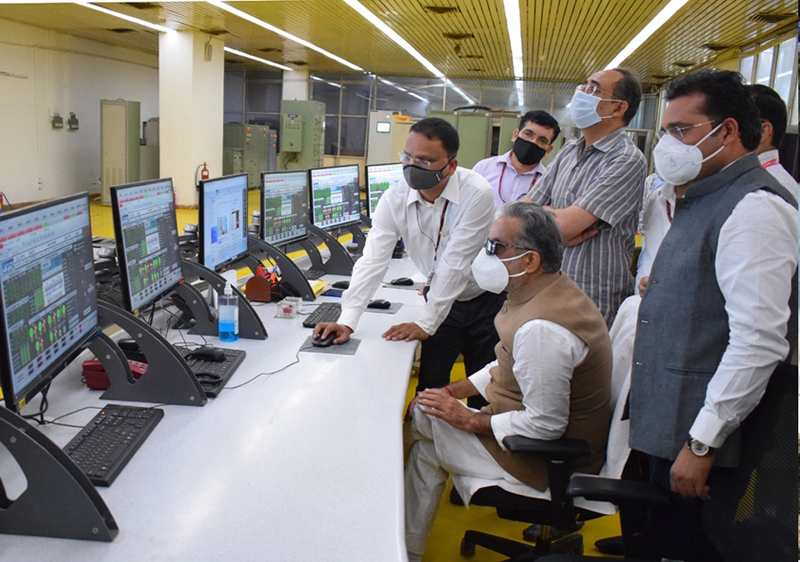 Union MoS for Power, Krishan Pal Gurjar inspecting Salal power project at Reasi on Monday.