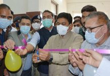 Union MoS for Home, Ajay Kumar Mishra inaugurating a project in Shopian on Wednesday.