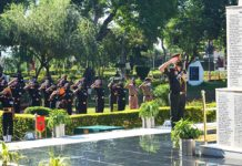 Western Army Commander, Lt Gen RP Singh and other ranks paying tributes to martyrs at `Veer Smriti' Chandimadir on Wednesday.