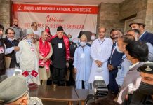 Dr Farooq Abdullah alongwith senior party leaders and delegates during NC's District President Elections in Srinagar on Monday. -Excelsior/Shakeel