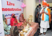 Lt Governor Manoj Sinha visiting stalls after inaugurating Jammu Haat in Jammu on Wednesday.
