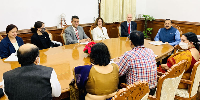 High level US Delegation led by Biden Government's top functionary, Deputy Secretary of Energy, David M. Turk, calling on Union Minister Dr Jitendra Singh, at New Delhi on Tuesday.