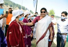 Union Minister of State for Tribal Affairs Renuka Singh during visit to district Kulgam.