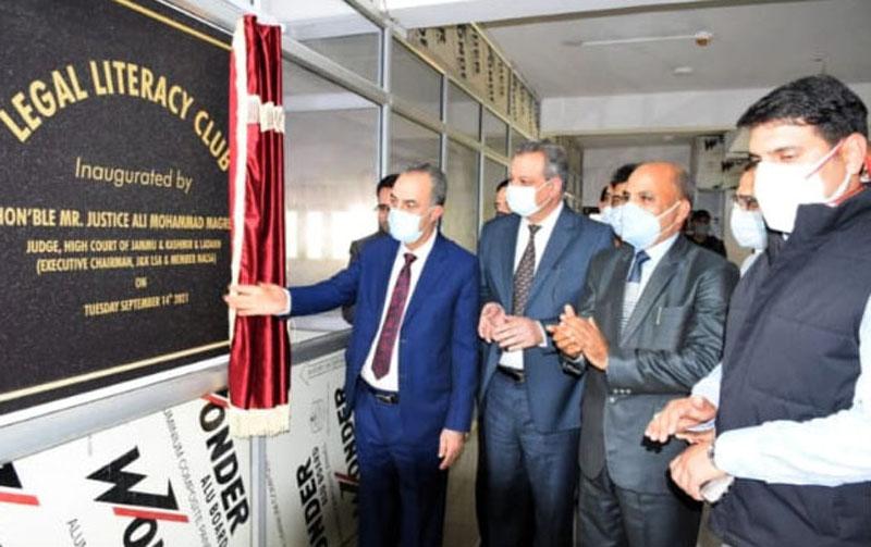 Justice Ali Mohd Magrey inaugurating Legal Literacy Club in Srinagar on Tuesday.