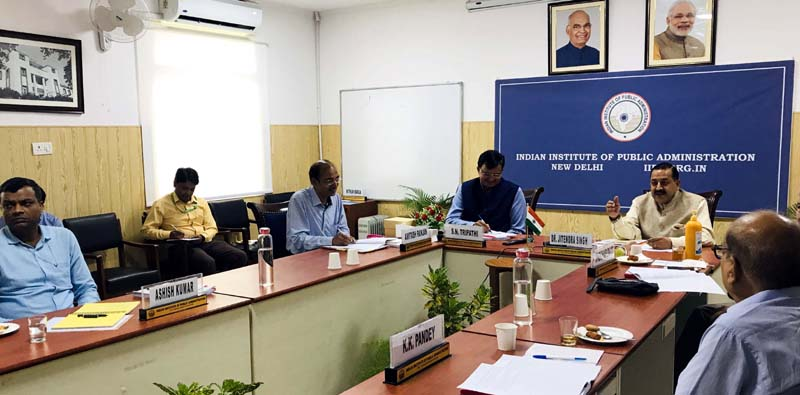Union Minister Dr Jitendra Singh chairing a meeting of the National Executive Council of the Indian Institute of Public Administration (IIPA), at New Delhi on Monday.