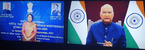 President of India Ram Nath Kovind and Dean & Principal SMVDCoN Dr Shailla Cannie during a virtual award ceremony.