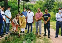 Former Minister, Sat Sharma kick starting construction work of cremation ground at Durga Nagar in Ward 40 on Wednesday.