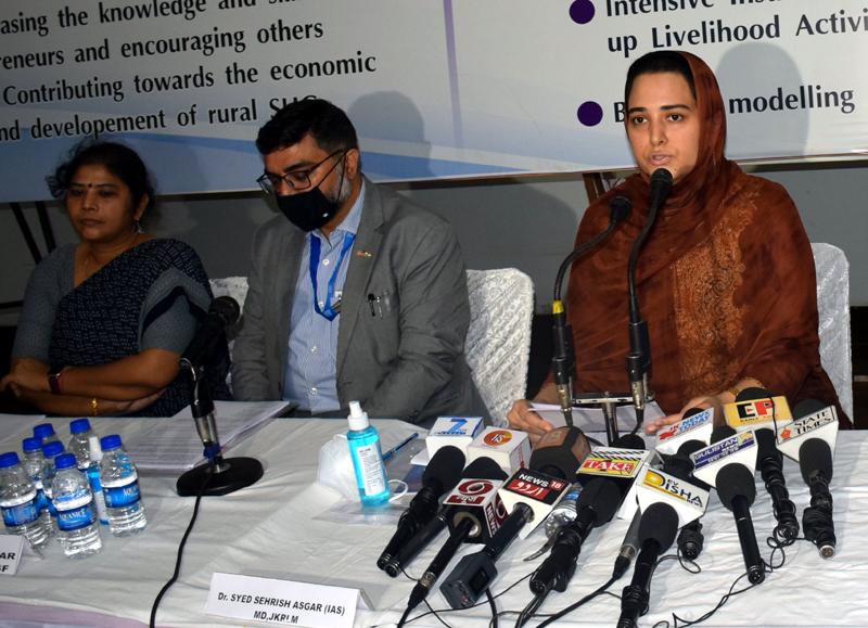 Mission Director JKRLM, Dr Syed Sehrish Asgar addressing media persons in Jammu on Monday.