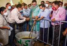 Chief Minister Arvind Kejriwal during his visit to observe the Centralised Bio-Decomposer System at Najafgarh in New Delhi.