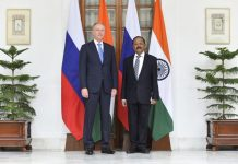 National Security Advisor Ajit Doval welcomes Secretary of the Russian Security Council Gen Nikolai Patrushev before a delegation level bilateral talks in New Delhi on Wednesday. (UNI)