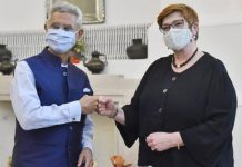 External Affairs Minister S Jaishankar meeting Australian Foreign Minister Marise Payne in New Delhi on Saturday. (UNI)