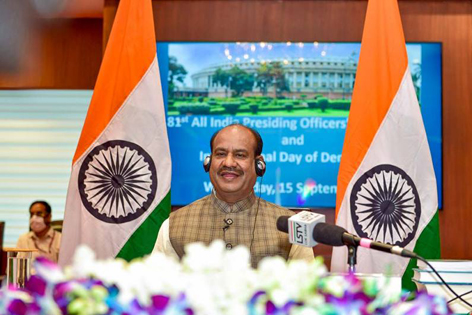 Lok Sabha Speaker Om Birla addresses the 81st All India Presideing Officers' Conference and International Day of Democracy function at Parliament Annexe, in New Delhi.