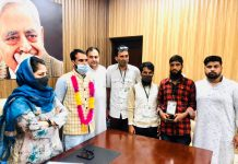 PDP president, Mehbooba Mufti during her visit to party headquarters Jammu on Monday.