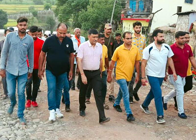 BJP general secretary and former MLC , Vibodh Gupta during tour of Rajouri villages on Tuesday.