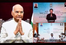 President Ram Nath Kovind virtually presents the National Award to Teachers 2021, on the occasion of Teachers' Day, in New Delhi on Union Minister for Education, Skill Development and Entrepreneurship, Dharmendra Pradhan and other dignitaries are also seen. (UNI)