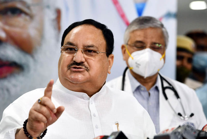 BJP President J P Nadda addressing media persons after visiting COVID19 vaccination centre at AIIMS in New Delhi on Monday. (UNI)