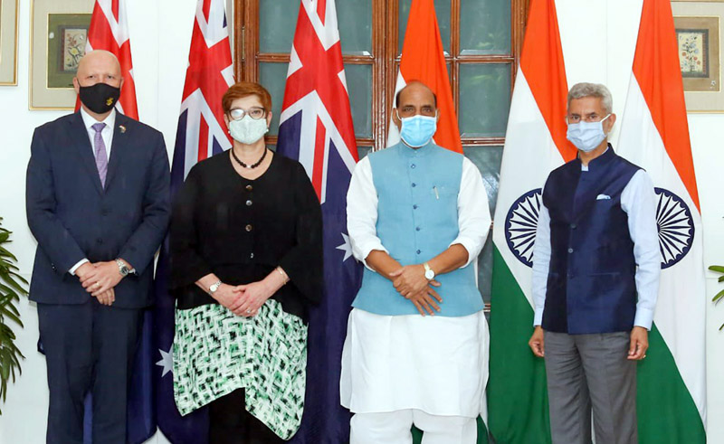 Defence Minister Rajnath Singh and External affairs Minister S Jaishankar with their Australian counterparts Peter Dutton and Marise Payne before the inaugural session of 2+2 ministerial dialogue in New Delhi on Saturday. (UNI)