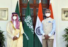 External Affairs Minister S Jaishankar meeting Prince Faisal Bin Farhan Al Saud, Minister of Foreign Affairs of the Kingdom of Saudi Arabia, in New Delhi on Sunday. (UNI)