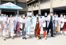 Doctors and students of GMC Jammu taking out drug/patient safety slogan march in the College campus.