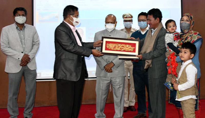 Union Minister Dr Rajkumar Ranjan Singh felicitating award winning teachers during his visit to Ladakh.