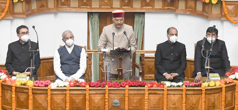 President, Ram Nath Kovind addressing the special session of Himachal Pradesh Legislative Assembly, in Shimla, Himachal Pradesh on Friday.