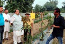 NC Provincial President Devender Singh Rana during visit to Organic Farm.