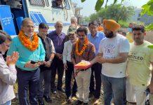 Former Deputy CM, Kavinder Gupta kick starting construction of new tube well at Sai Vihar Jammu on Monday.