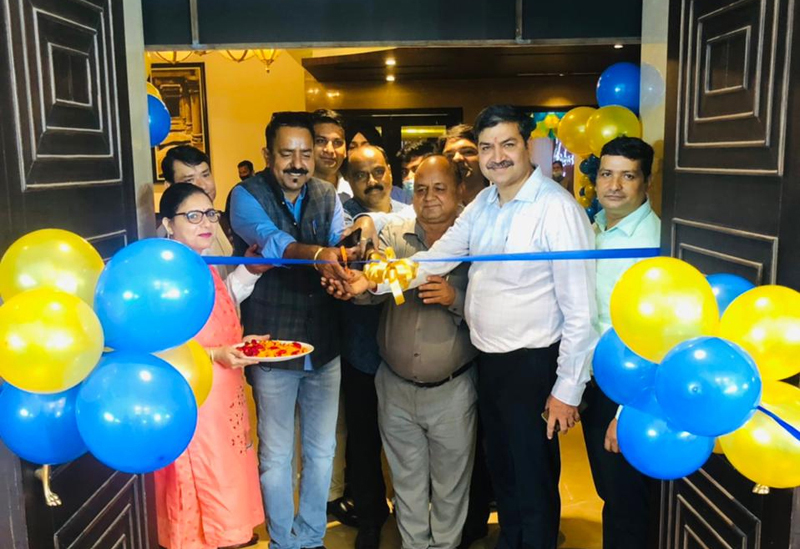 Sanjay Mattoo, DGM-Marketing for Kajaria Ceramics Limited and others during launch of royal collection of tiles.