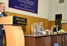 Justice Magrey during 4th phase training programme for advocates at J&K Judicial Academy, Srinagar.