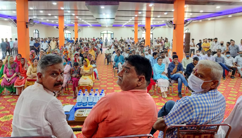 BJP leaders during a public meeting at Marh Block on Saturday.