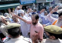 VRS given JKRTC workers staging protest demonstration near Press Club in Jammu on Monday. — Excelsior/Rakesh