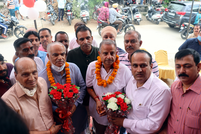 BJP General Secretary Ashok Koul along with other dignitaries at the launch of a new Sarveshwar rice retail store in Bishnah on Saturday.