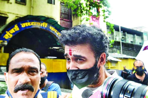 Raj Kundra comes out of Arthur Road jail after being granted bail by Mumbai court in connection with pornography case, in Mumbai.